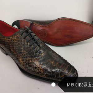 Python Pattern Fashion Pointed Leather Shoes
