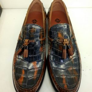 Hand Made Men Alligator Skin Leather Loafers