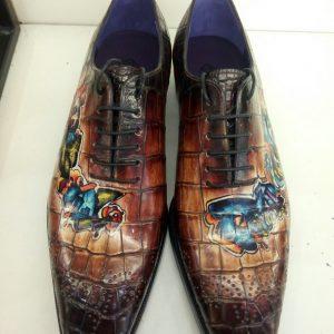 Luxury Painted Men Alligator Handmade Shoes