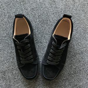 Black Suede Leather Trainer Flats Shoes