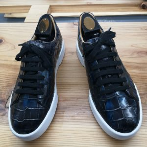 Alligator Skin Lace Up Sneaker Shoes Black