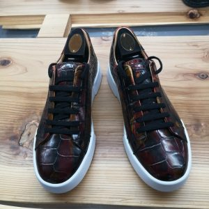 Alligator Skin Lace Up Sneaker Shoes Brown
