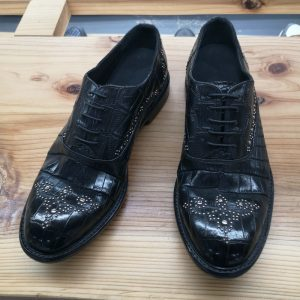 Alligator Skin Rivet Oxford Shoes