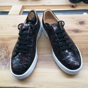 Alligator Skin Lace Up Sneaker Shoes Burgundy