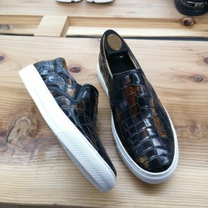 Alligator Skin Casual Slip On Shoes Black