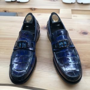 Premium Alligator Loafers Slip-on Shoes Blue