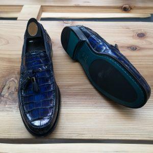 Alligator Skin Casual Slip On Shoes Blue