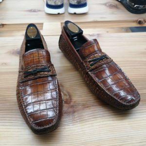 Alligator Leather Slip-On Leather Lined Loafer Tan