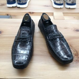 Alligator Leather Slip-On Leather Lined Loafer Black
