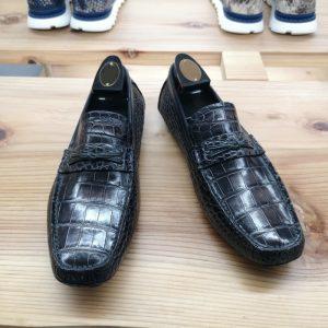 Alligator Leather Slip-On Leather Lined Loafer Black