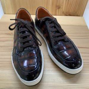 Alligator Genuine Leather Men Sneakers Brown