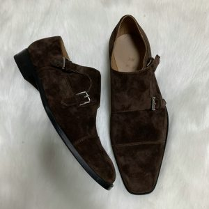 Goodyear Welted Suede Men Hot Sale Monk Strap Shoes