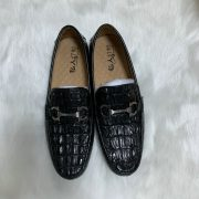 Men Leather Slip-on Loafers Handmade Crocodile Leather