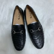 Full Grain Leather Ostrich Patent Loafers Shoes For Men