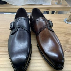 Genuine Leather Mens Monk Shoes