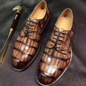 Lace Up Genuine Alligator Leather Men Official Business Shoes