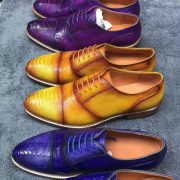 Goodyear Welt Construction Custom Alligator Men Shoes