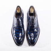 Blue Genuine Crocodile Derby Shoes