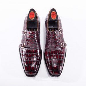 Men's Crocodile Cap Toe Double Monk Strap Shoes