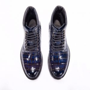 Men's Crocodile Leather Winter Lace up Classic Boots