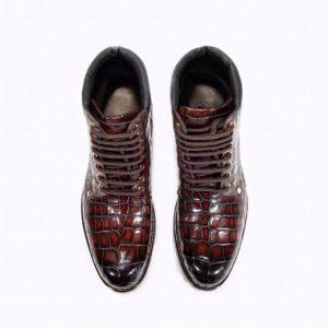 Genuine Crocodile High-Top Formal Boots