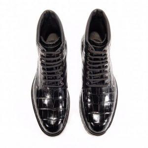 Men Fashion Crocodile Lace-up Boots