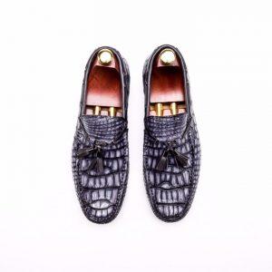 Real Crocodile Leather Tassel Loafers Crocodile Print Shoes