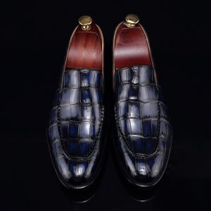 Handcrafted Croc Leather Penny Loafer