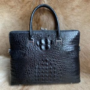 Large Crocodile Leather Laptop Bag