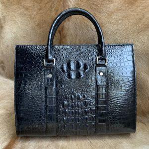 Crocodile Leather Compartment Briefcase