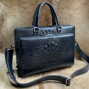 Classic Crocodile Pattern Briefcase
