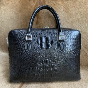 Genuine Crocodile Bone Leather Briefcase