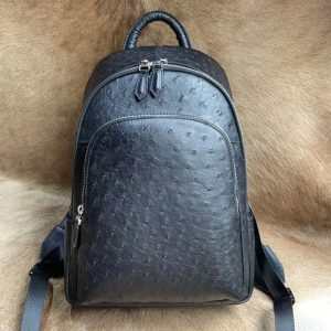 Ostrich Anti-theft Leather Backpack