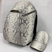 Python Leather Backpack Beige