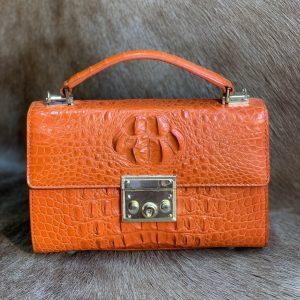 Full Leather Handbag Crocodile Shoulder Bag