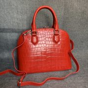 Womens Alligator Double Handle Small Shell Bag
