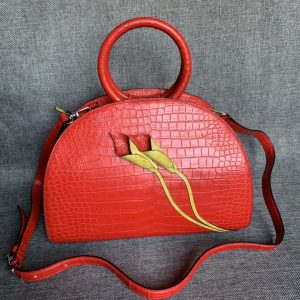 Alligator Leather Shell Clutch Bag