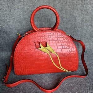 Alligator Leather Shell Clutch Bag