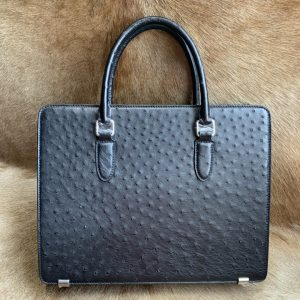 Ostrich Briefcase Bag Black Handbag