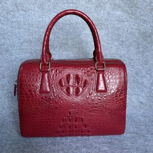 Crocodile Leather Pillow Bags Barrel Handbag