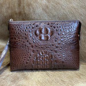 Zipper Document Case Crocodile Clutch Bag