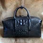 Crocodile Embossed Leather Travel Weekend Bag