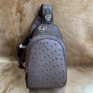 Men Ostrich Leather Chest Pack Bag