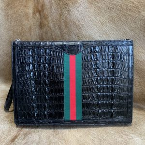 Crocodile Leather Zipper Pouch