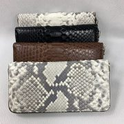 Python Leather Zip Clutch