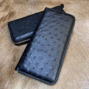 Men's Long Business Ostrich Leather Wallet