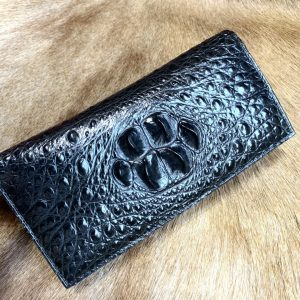Luxury Patent Crocodile Male Long Wallet