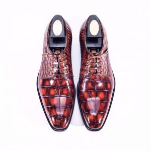 New Alligator Print Men's Business Leather Shoes