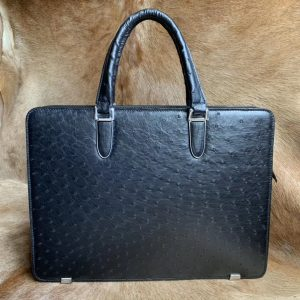 Black Ostrich Leather Bag Men Briefcase Bags
