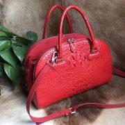 Three Zipper Crocodile Leather Crossbody Bag